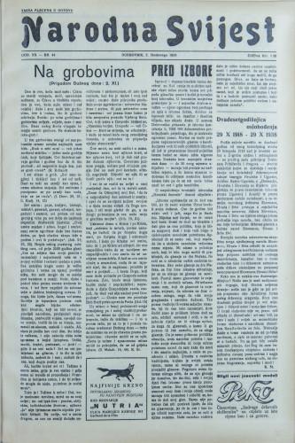 Narodna svijest, 1938/44