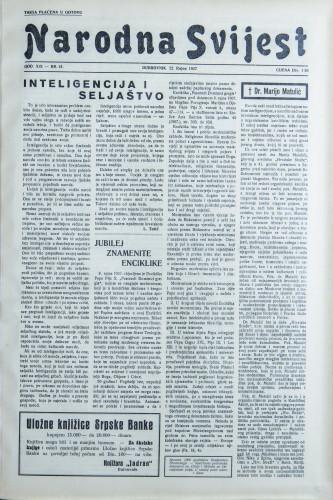 Narodna svijest, 1937/41