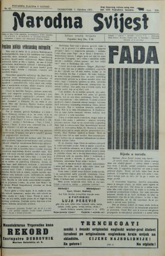 Narodna svijest, 1931/41