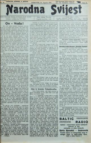 Narodna svijest, 1928/35