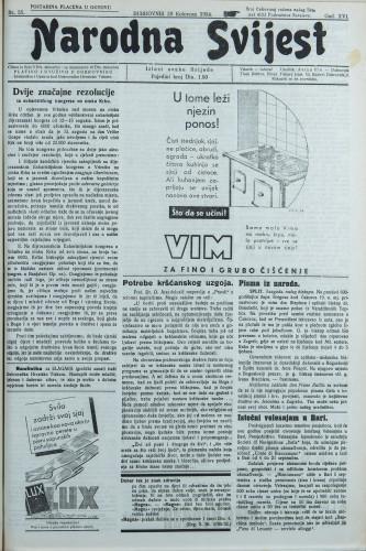 Narodna svijest, 1934/35