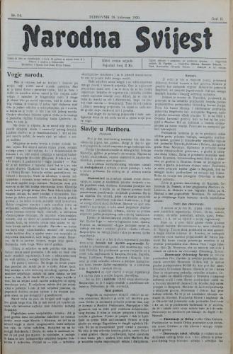 Narodna svijest, 1920/34