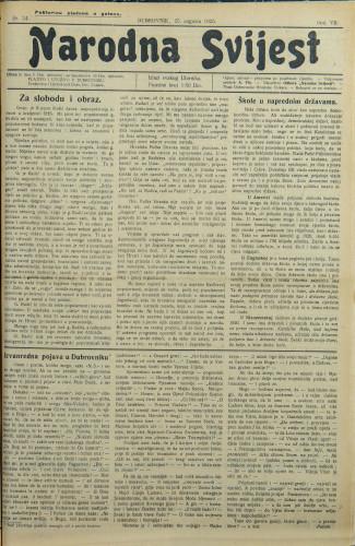 Narodna svijest, 1925/34