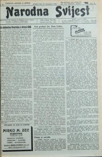 Narodna svijest, 1928/38