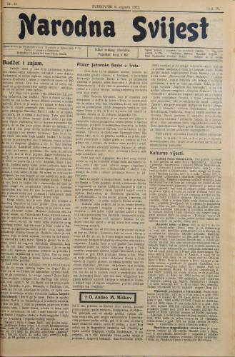 Narodna svijest, 1922/32