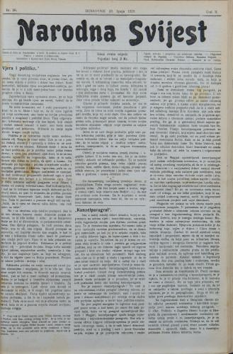 Narodna svijest, 1920/26