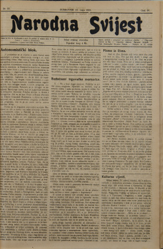 Narodna svijest, 1922/21
