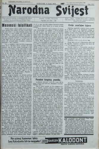 Narodna svijest, 1934/38
