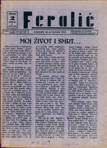 Feralić/Dubrovnik, na po korizme 1933.