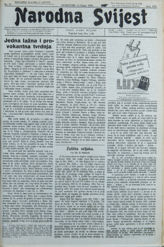 Narodna svijest, 1934/37