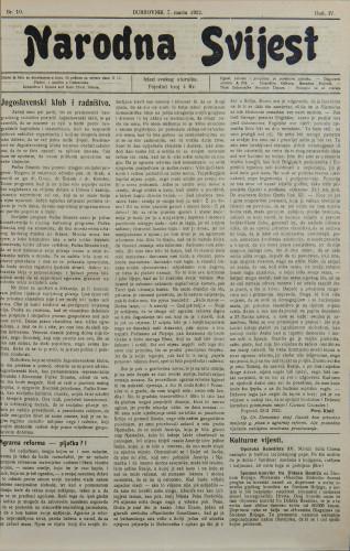 Narodna svijest, 1922/10