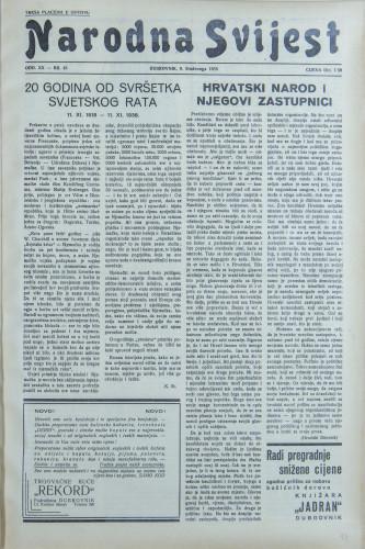 Narodna svijest, 1938/45