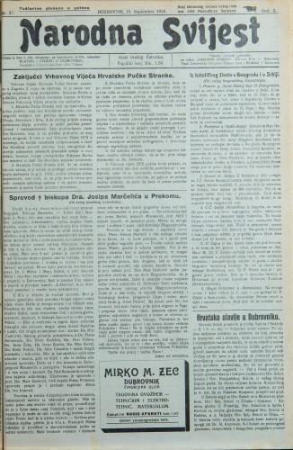 Narodna svijest, 1928/37