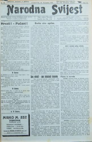 Narodna svijest, 1928/48