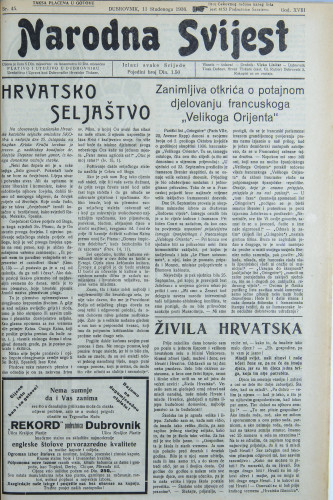 Narodna svijest, 1936/45