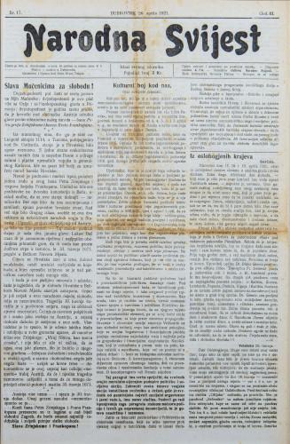 Narodna svijest, 1921/17