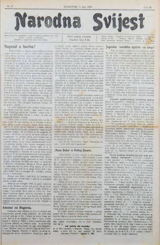 Narodna svijest, 1921/27