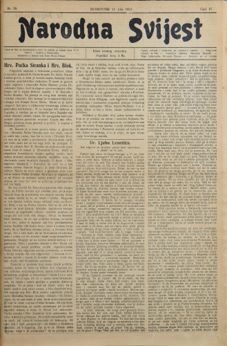 Narodna svijest, 1922/28