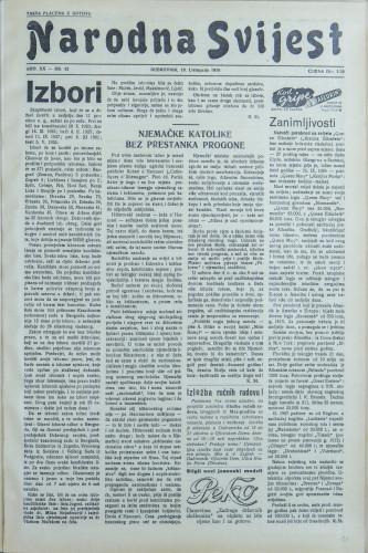 Narodna svijest, 1938/42