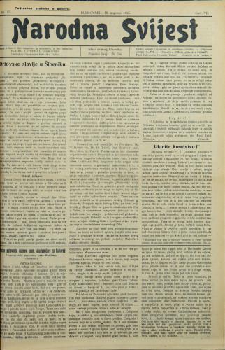 Narodna svijest, 1925/33