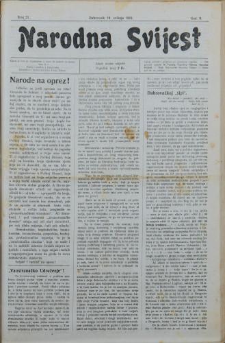 Narodna svijest, 1920/21