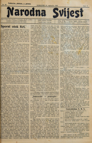Narodna svijest, 1923/40