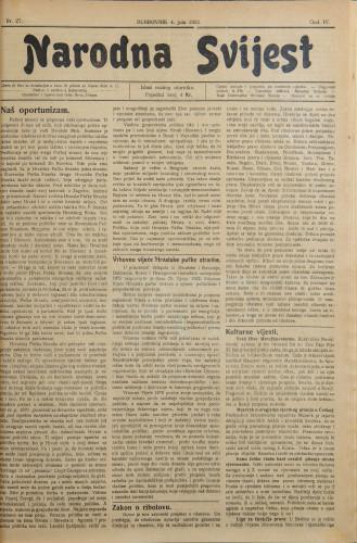 Narodna svijest, 1922/27