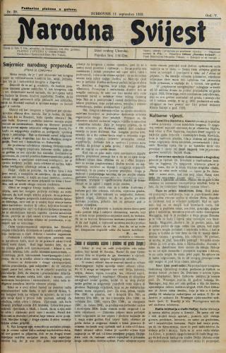 Narodna svijest, 1923/39