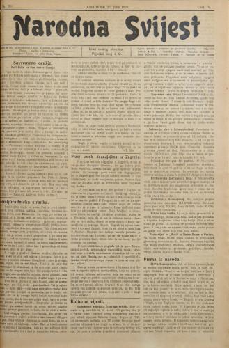 Narodna svijest, 1922/26