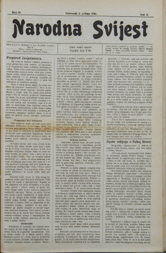 Narodna svijest, 1920/19