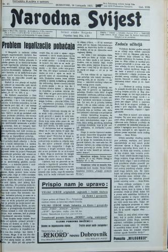 Narodna svijest, 1935/41