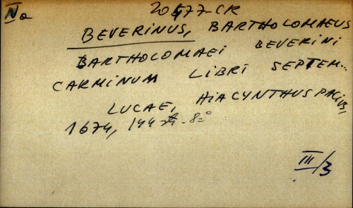 Bartholomaei Bverini Carminum libri septem