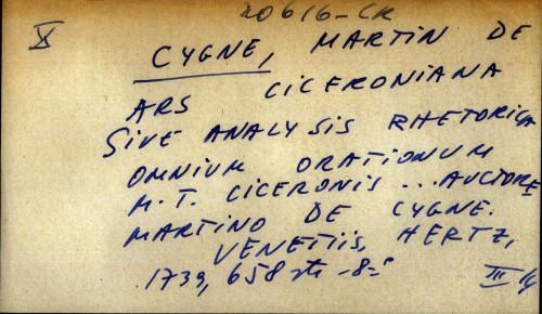 Ars Ciceroniana sive analysis rhetorica omnium orationum M. T. Ciceronis ... Auctore Martino de Cygane