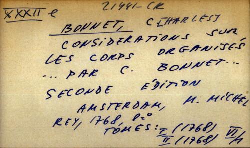 Considerations sur les corps organises par C. Bonnet, seconde edition