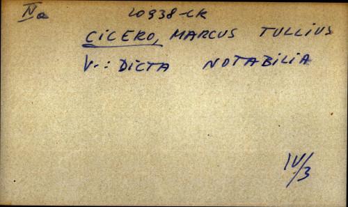 Cicero, Marcus Tullius - uputnica