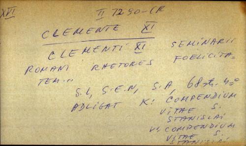 Clemente XI seminarii romani rhetores foelicitatem