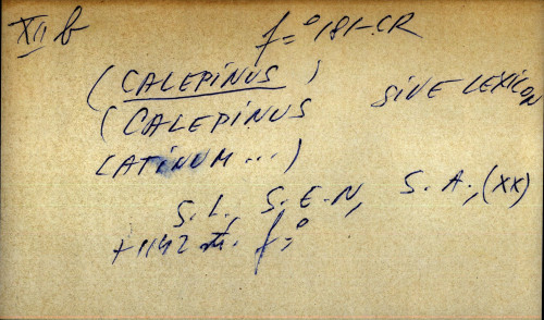 Calepinus sive lexicon latinum ...
