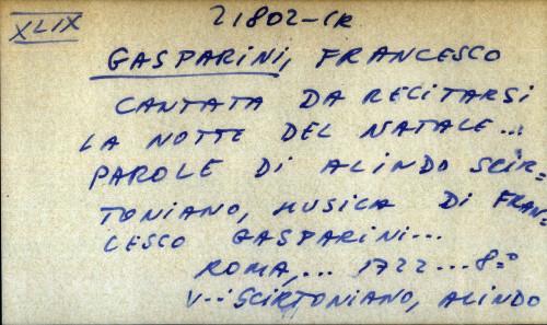 Cantata da recitarsi la notte del natale ... parole di Alindo Scirtoniano, musica d Francesco Gasparini - UPUTNICA