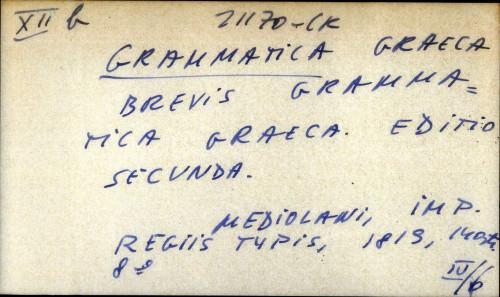 Brevis grammatica graeca