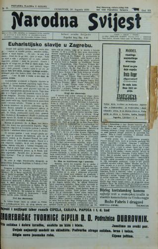Narodna svijest, 1930/33