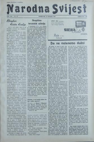 Narodna svijest, 1939/43