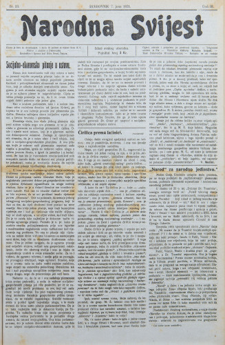 Narodna svijest, 1921/23