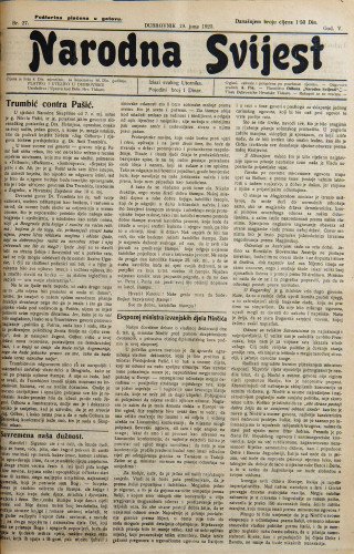 Narodna svijest, 1923/27