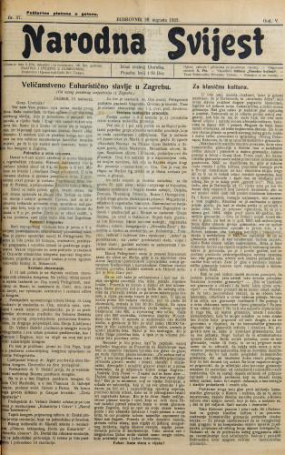 Narodna svijest, 1923/37