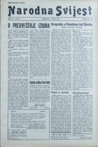 Narodna svijest, 1938/49