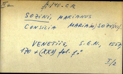 Consilia Mariani Sozini...