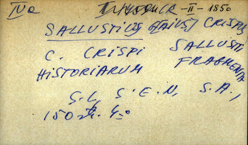 C. Crispi Sallustii historiarum fragmenta