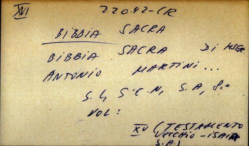 Bibbia sacra di msgr. Antonio Martini