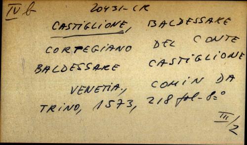 Cortegiano del conte Baldessare Castiglione