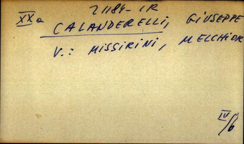 Calanderelli, Giuseppe - uputnica